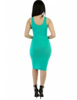 Women Scoop Neck Midi Casual Bodycon Tank Dress Green