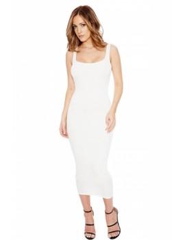 Womens Slimming Plain Sleeveless Tank Dress White
