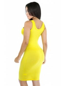 Women Scoop Neck Midi Casual Bodycon Tank Dress Yellow