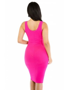 Women Scoop Neck Midi Casual Bodycon Tank Dress Rose Red