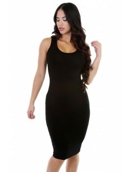 Women Scoop Neck Midi Casual Bodycon Tank Dress Black