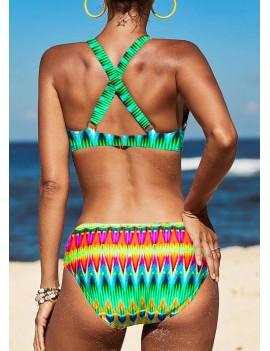 Criss Cross Back Printed Bikini Set