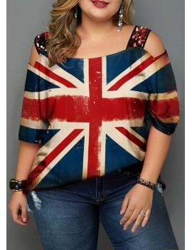 Plus Size Flag Print Cold Shoulder T Shirt