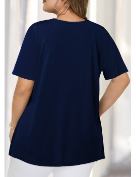 Plus Size Flag Print Short Sleeve T Shirt
