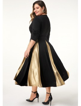 Plus Size Long Sleeve Contrast Panel Dress