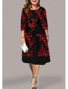 Plus Size Sequin Detail Round Neck Dress