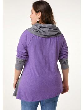 Contrast Panel Plus Size Asymmetric Hem T Shirt