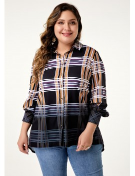 Gradient Plaid Print Plus Size T Shirt