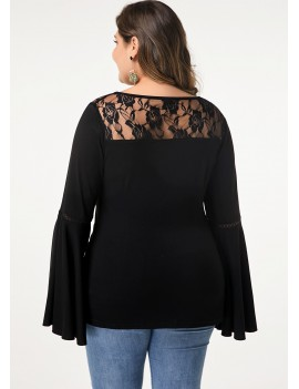 Lace Panel Flare Sleeve Black Blouse