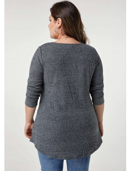 Long Sleeve Grey Marl Button Detail Plus Size T Shirt