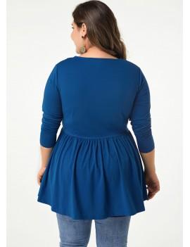 Long Sleeve V Neck Plus Size Blouse