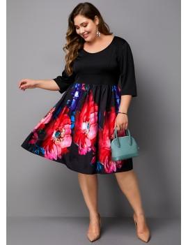 Flower Print Plus Size Round Neck Dress