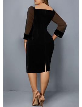 Plus Size Mesh Panel Back Slit Dress
