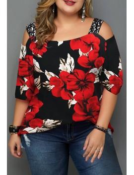 Plus Size Sequin Panel Floral Print T Shirt