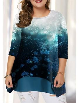 Plus Size Christmas Snowflake Print Gradient T Shirt