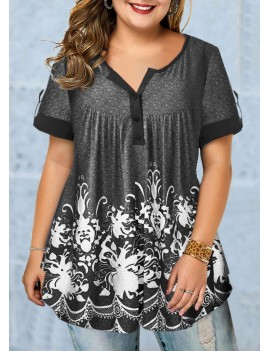 Button Detail Short Sleeve Printed Plus Size Blouse