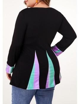 Plus Size Long Sleeve Printed T Shirt