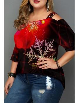 Plus Size Gradient Christmas Snowflake Print T Shirt