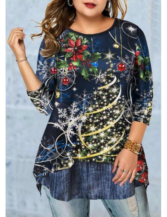 Christmas Print Plus Size Long Sleeve T Shirt
