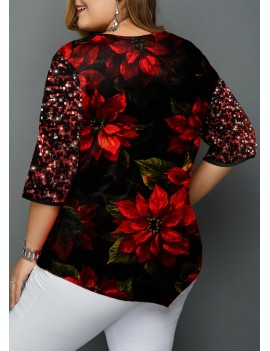 Sequin Embellished Christmas Print Plus Size T Shirt
