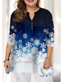 Plus Size Snow Print Split Neck Blouse