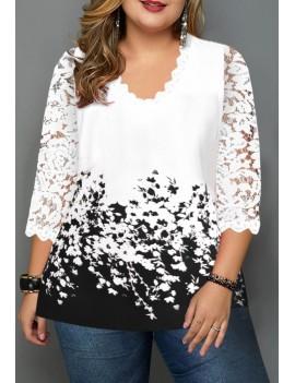 Plus Size Floral Print Lace Panel T Shirt