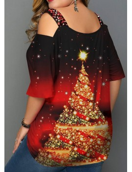 Plus Size Christmas Tree Print T Shirt