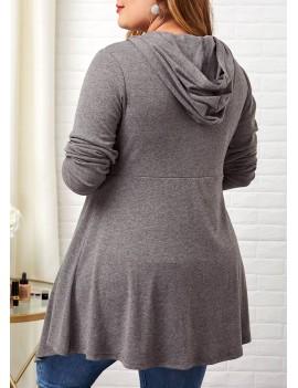 Plus Size Button Front Hooded Collar Asymmetric Hem T Shirt