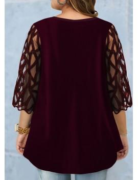 Plus Size Sequin Detail Mesh Panel T Shirt
