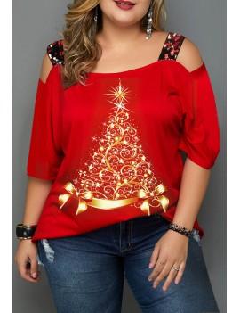 Plus Size Christmas Print Ladder Cutout T Shirt