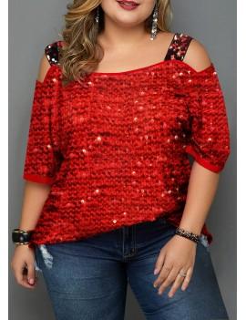 Plus Size Sequin Embellished Cold Shoulder T Shirt