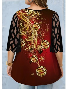 Plus Size Mesh Panel Christmas Print T Shirt