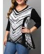 Plus Size Asymmetric Hem Long Sleeve T Shirt