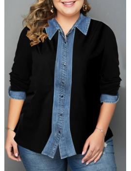 Plus Size Turndown Collar Button Up Shirt