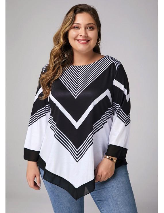 Plus Size Asymmetric Hem Printed Three Quarter Sleeve T Shirt