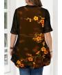 Blossom Print Faux Two Piece Plus Size Blouse