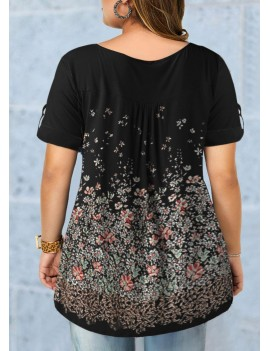 Plus Size Floral Print Roll Tab Sleeve Blouse
