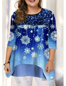 Plus Size Snow Print Layered Hem T Shirt