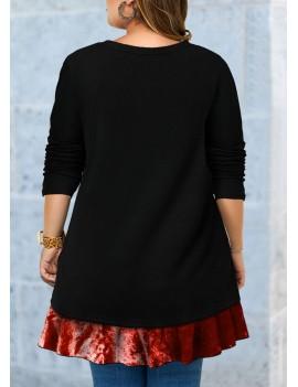 Plus Size Button Detail Long Sleeve T Shirt