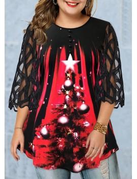 Plus Size Christmas Tree Print Mesh Panel T Shirt