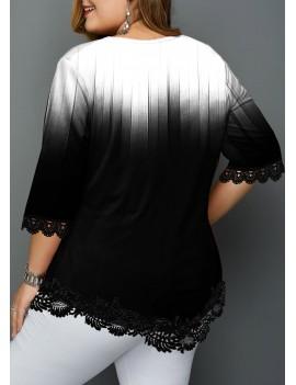 Plus Size Lace Patchwork Asymmetric Hem T Shirt
