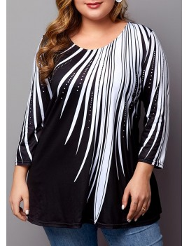 Plus Size Printed Contrast Panel T Shirt