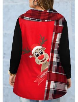 Plus Size Christmas Elk Print Long Sleeve T Shirt