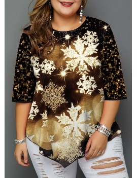 Plus Size Christmas Snowflake Print Sequin Detail T Shirt
